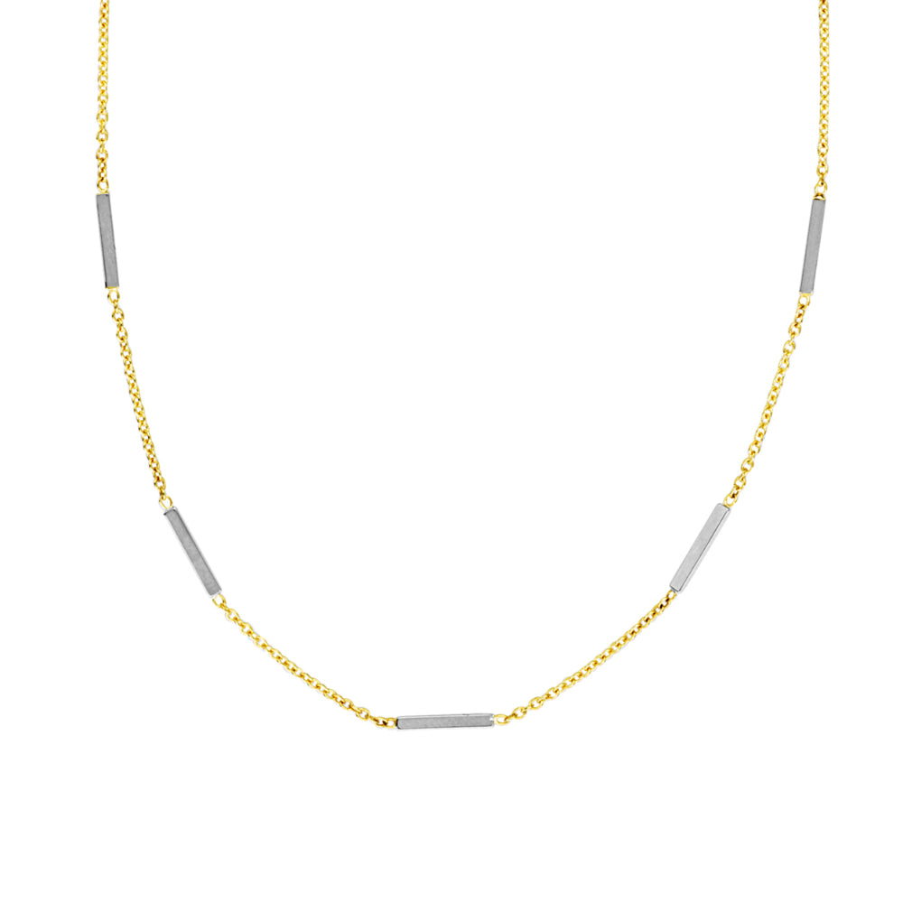 14k Two-Tone Chain and Bar Necklace