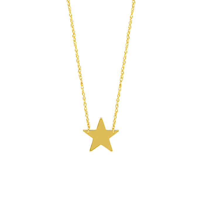 14k Mini Star Disc Necklace