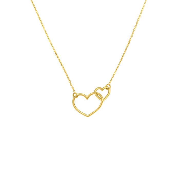 14k Interlocking Open Hearts Necklace