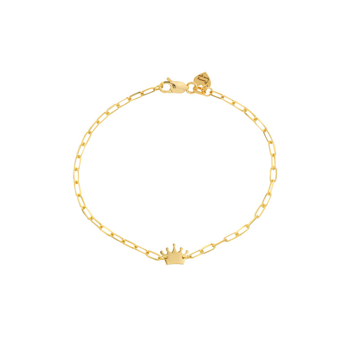 14k Child's Paper Clip Chain Crown & Heart Bracelet