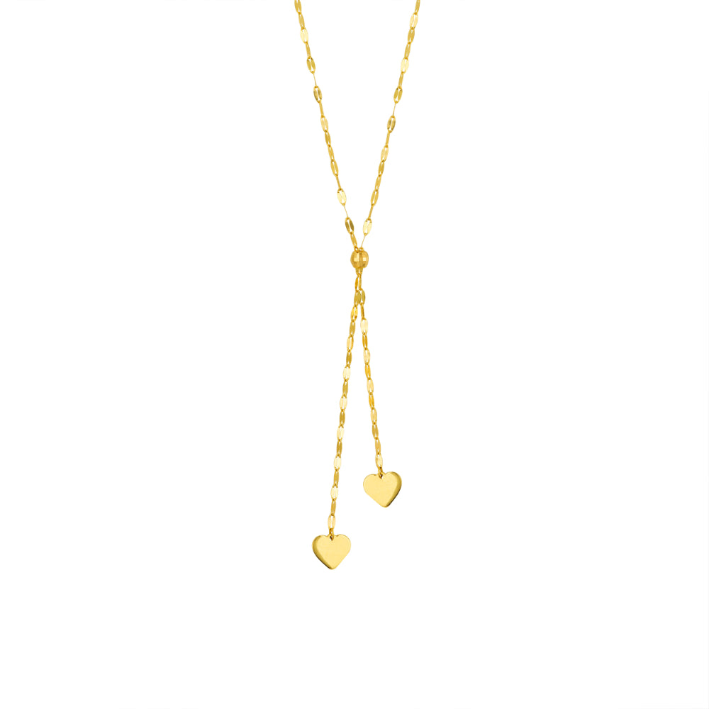 14k Dangling Hearts Lariat Necklace
