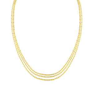 14k Triple Chain Beaded Valentino Necklace