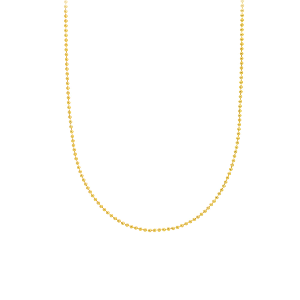 14kt Yellow Gold 1.5mm Bead Chain Necklace
