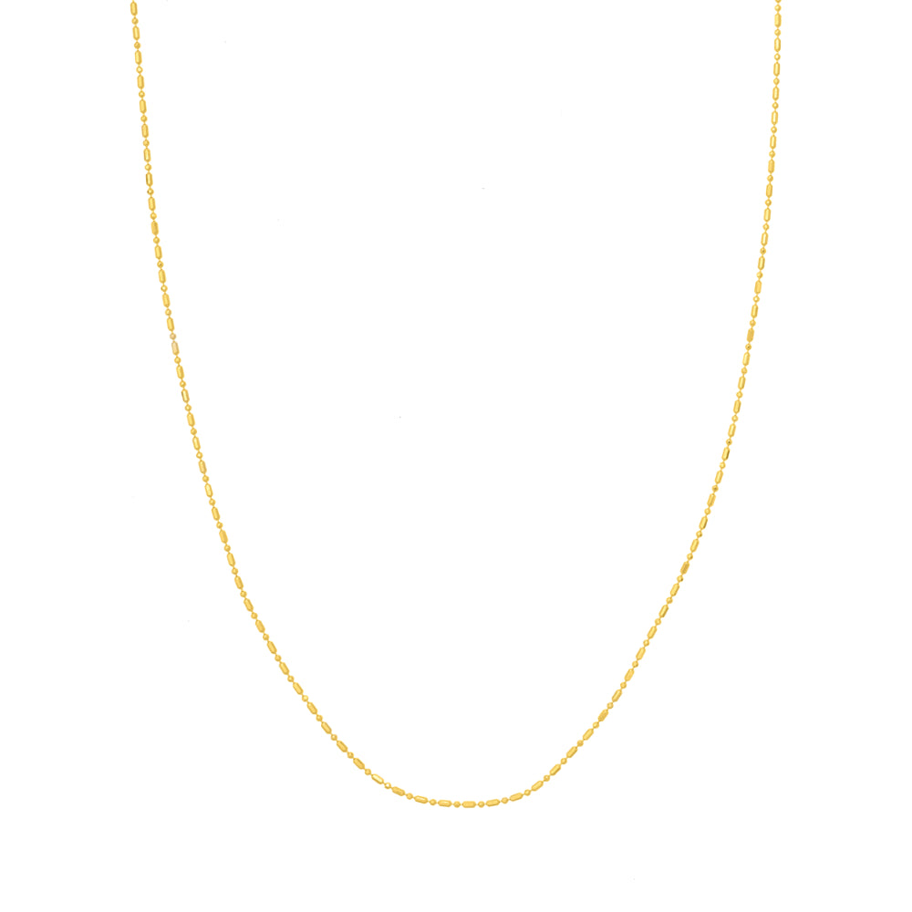 14kt Yellow Gold 1.2mm Beaded Chain Necklace