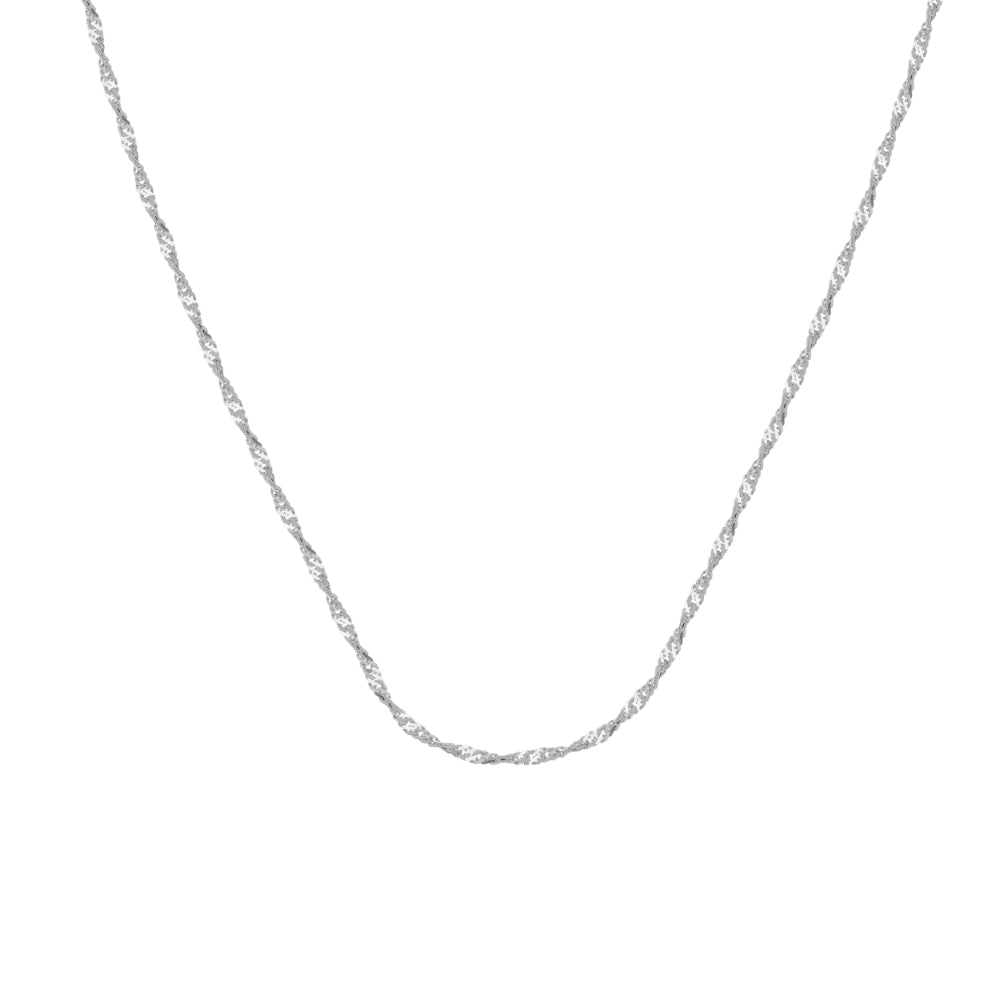 14Kt White Gold 1mm Singapore Chain 16 inches