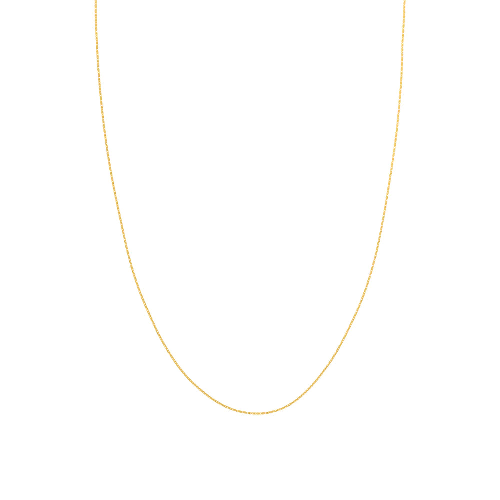 14kt Yellow Gold .7mm Box Chain, 18 inches