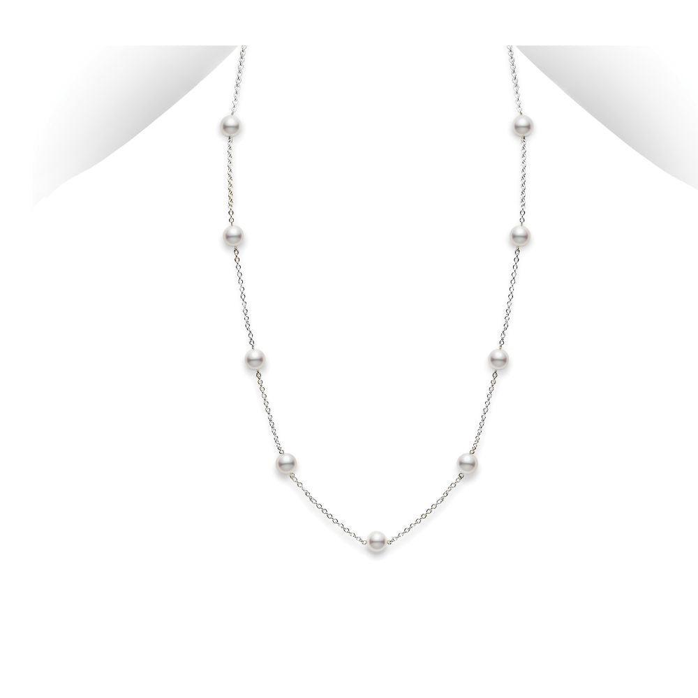 "Mikimoto Akoya Cultured Pearl Station Necklace 16"" - White Gold"