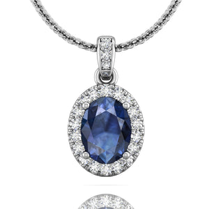 Martin Flyer Oval Sapphire and Diamond Pendant
