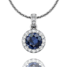 Load image into Gallery viewer, Martin Flyer Round Sapphire and Diamond Pendant