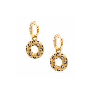JDS Mirror Collection Open Circle Diamond Huggie Drop Earrings
