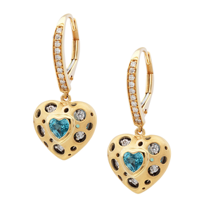 JDS Mirror Collection Blue Topaz and Diamond Heart Drop Earrings