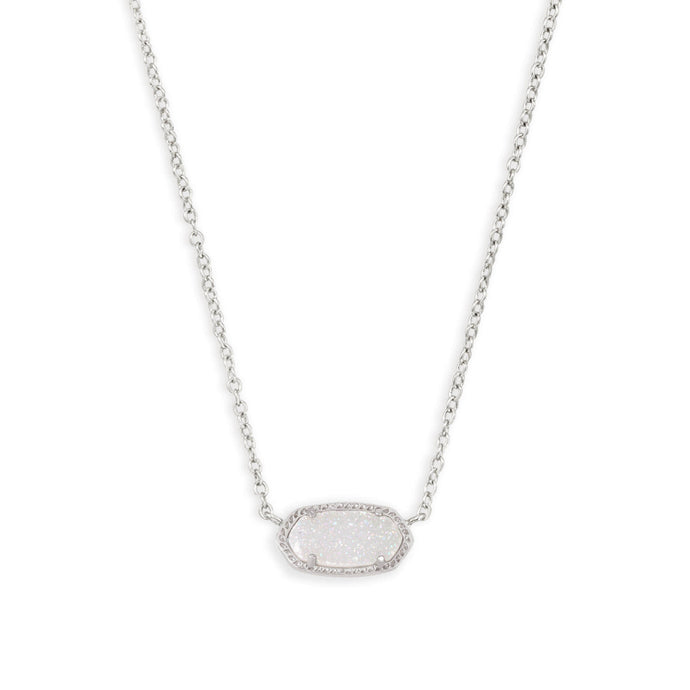Kendra Scott Elisa Rhodium Iridescent Drusy Pendant Necklace