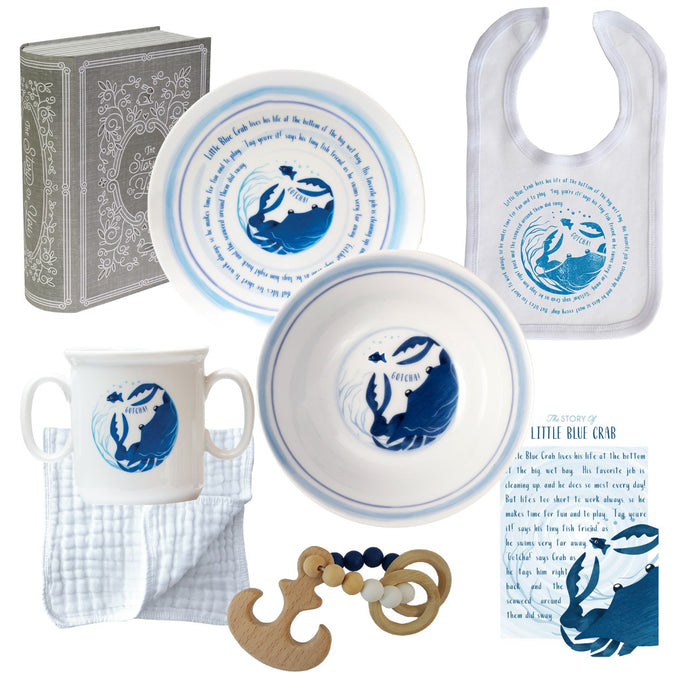 Salisbury Pewter Cup, Plate, Bowl, Bib, and Teether Set- Crab