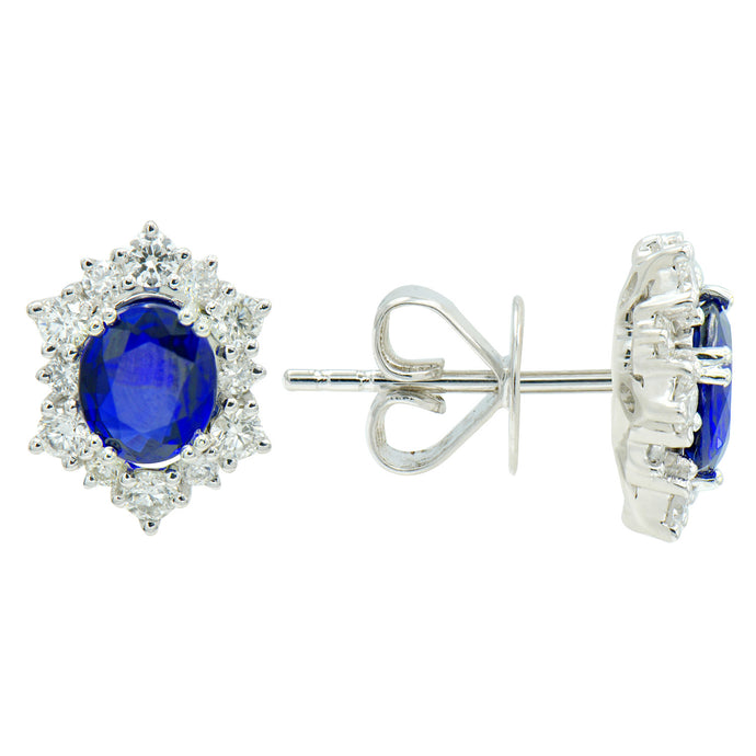 18K White Gold Sapphire and Diamond Halo Earrings