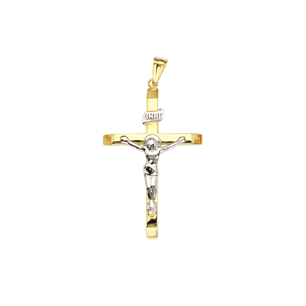 14k Two Tone Crucifix Necklace