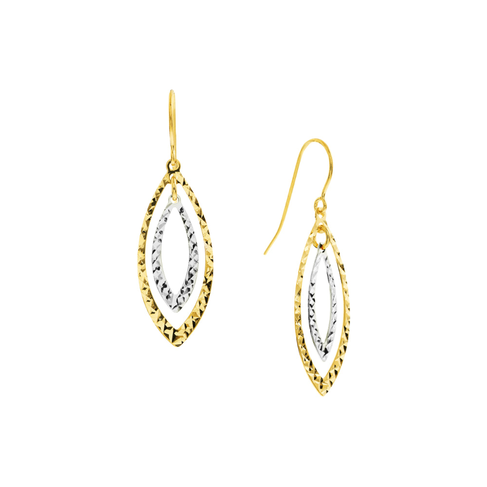 14k Two Tone Double Diamond Cut Marquise Wire Earrings