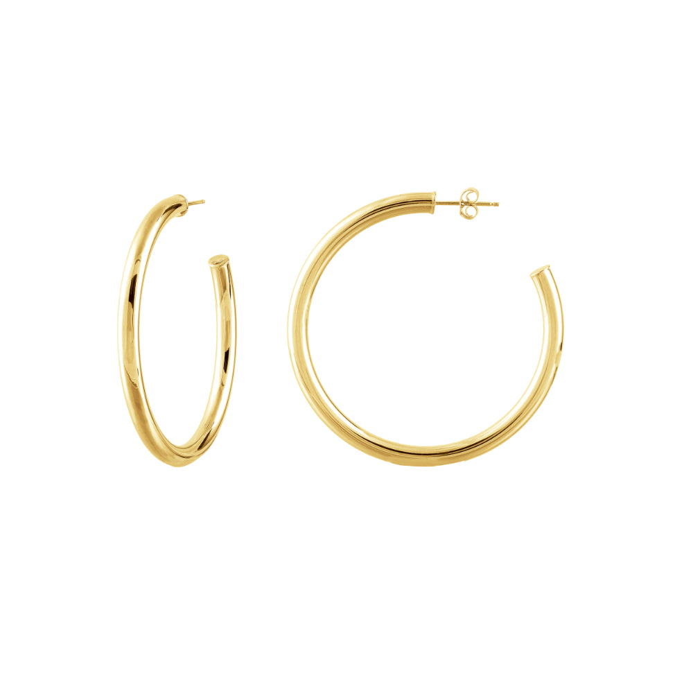 14k Polished Open Hoop Post Earrings