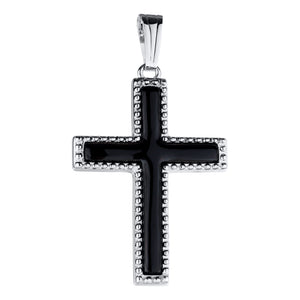 Sterling Silver Onyx Beaded Cross Necklace