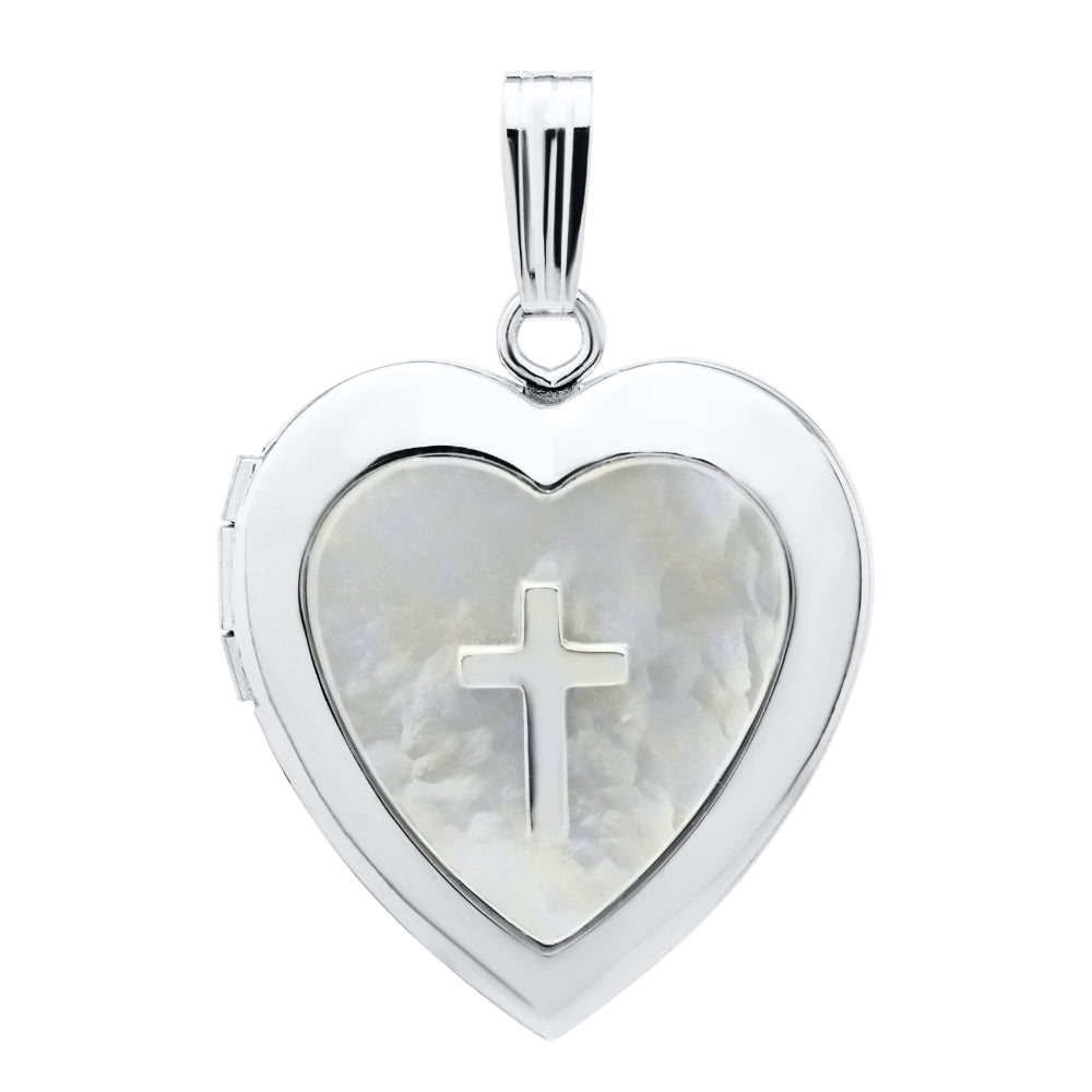 Sterling Silver and Mother of Pearl Heart with Cross Locket Necklace