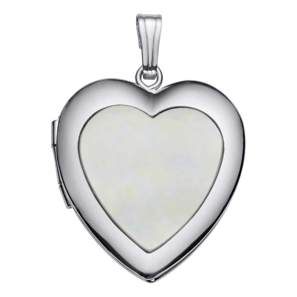 925 Sterling Silver Mother of Pearl Heart Locket Pendant Necklace Gift Boxed