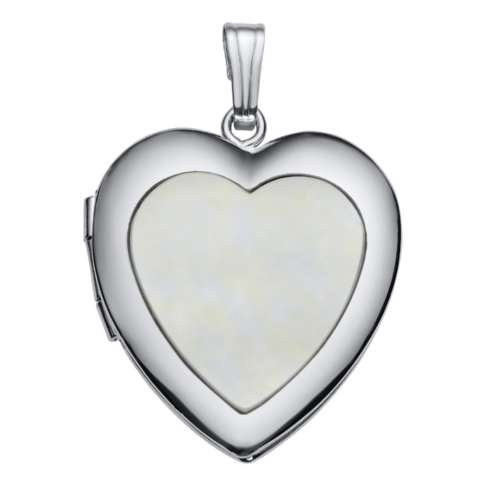 Sterling Silver Mother of Pearl Heart Locket Necklace