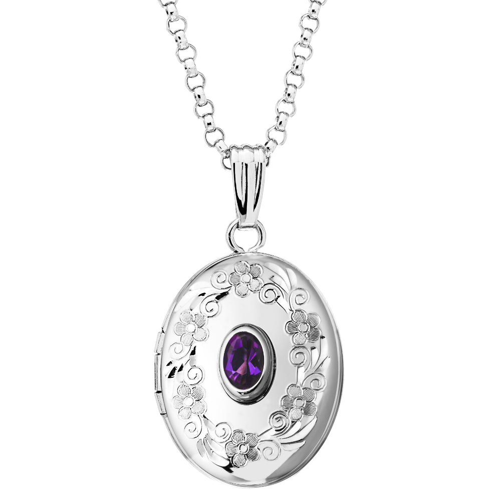 Sterling Silver Amethyst Oval Locket Necklace