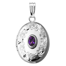 Load image into Gallery viewer, Sterling Silver Amethyst Oval Locket Necklace