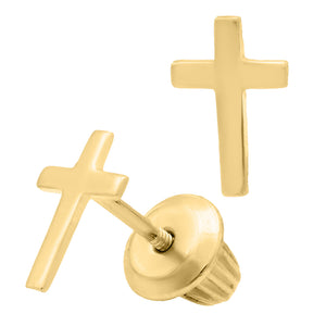 Children's Gold Cross Earrings