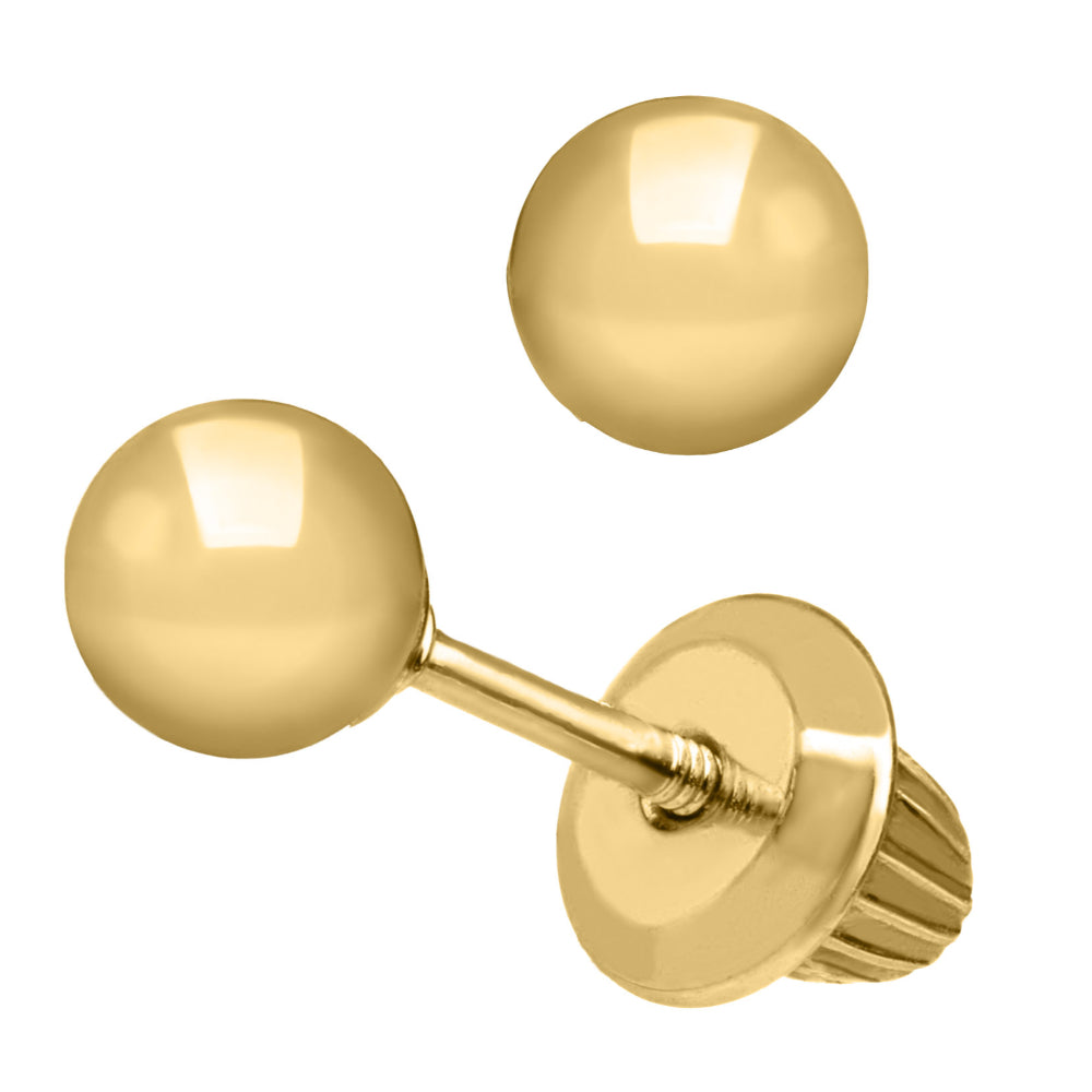 Children's Gold Ball Stud Earrings
