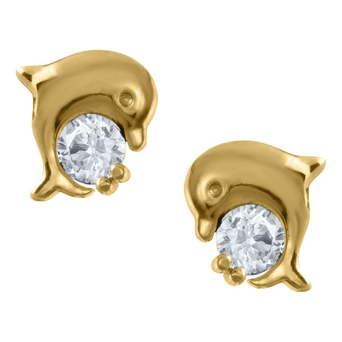 Children's 14K Yellow Gold Dolphin Stud Earring with CZ