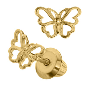 Children's Gold Butterfly Earrings