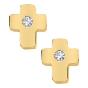 Children's Gold Cross Earrings with Diamonds