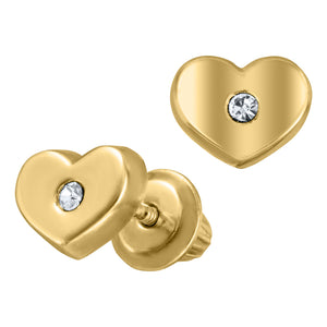 Children's Gold Heart Earrings