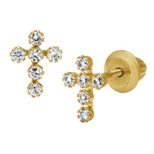 Load image into Gallery viewer, Children's Cross CZ Gold Earrings