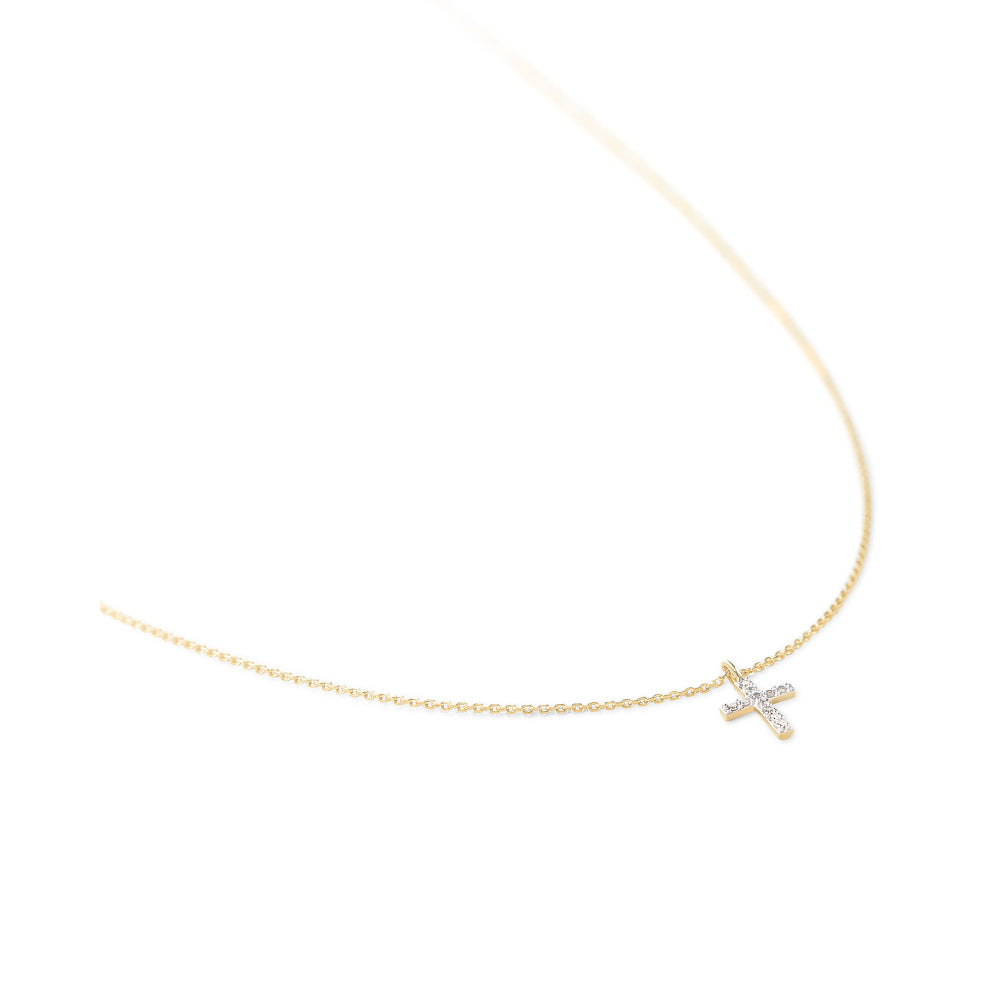 Kendra Scott Cross Necklace Pendant in White Diamond and 14K