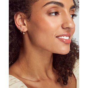 Kendra Scott Cathleen Huggie Earrings in Pearl and 14K