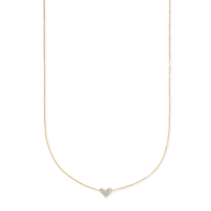 Kendra Scott Heart Necklace Pendant in White Diamond and 14K