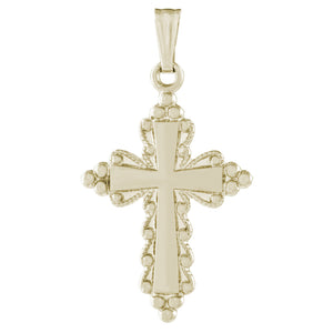 14k Yellow Gold Beaded Cross Necklace