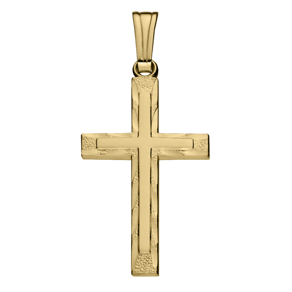 14k Yellow Gold Diamond Cut Cross Necklace