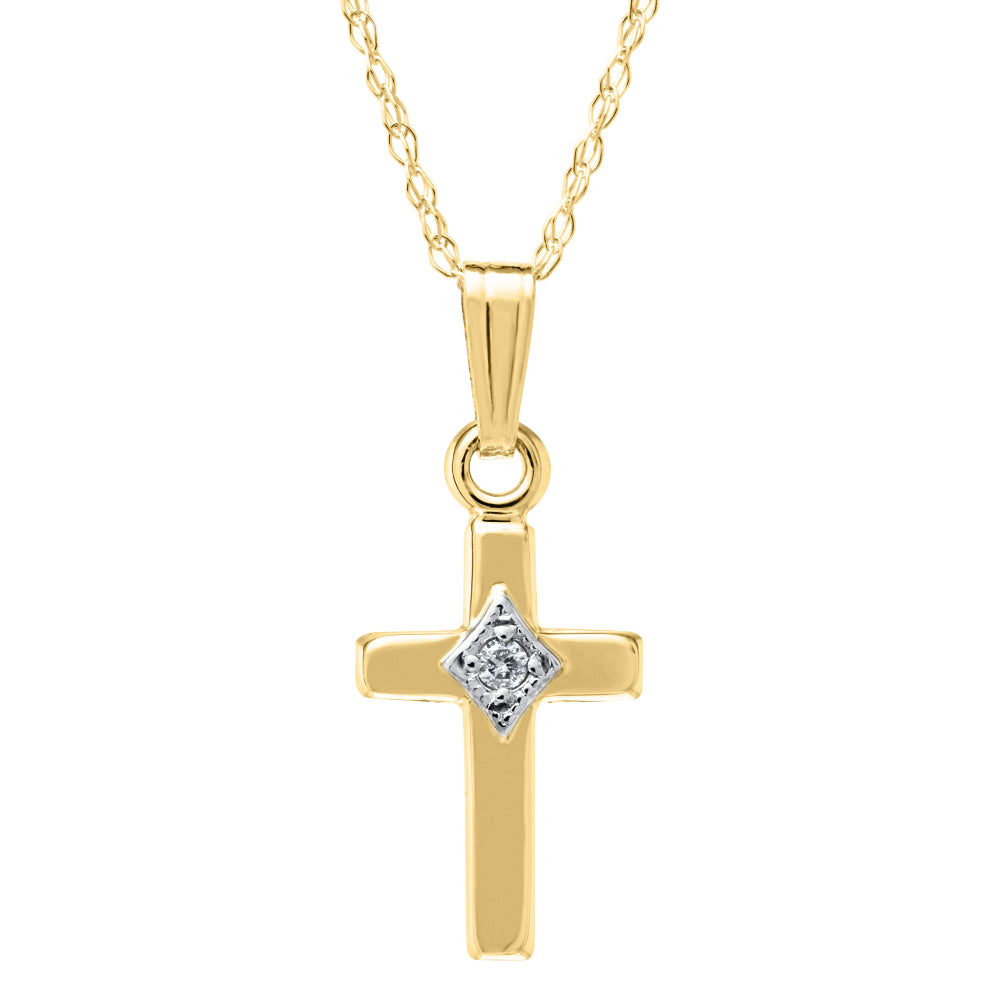 Children's Diamond Gold Cross Necklace
