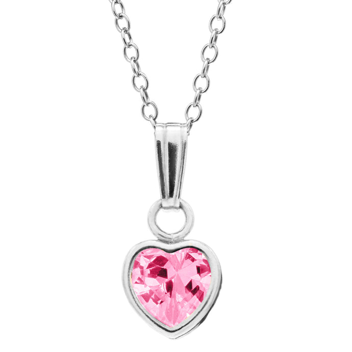 Children's Sterling Silver Pink Heart Necklace