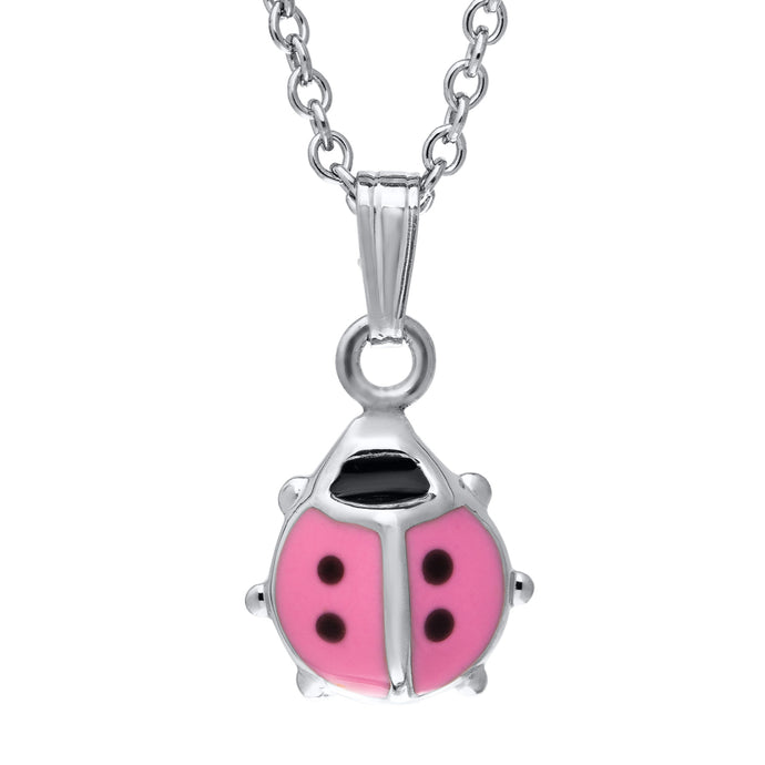 Children's Sterling Silver Pink Ladybug Necklace