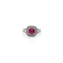 Load image into Gallery viewer, 18k White Gold Ruby Ring with Double Halo