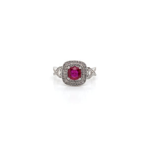 18k White Gold Ruby Ring with Double Halo