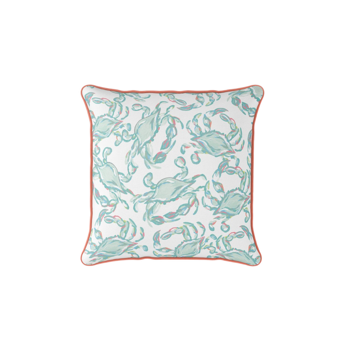 Sewing Down South Crab Craze Pastel Coral Pillow