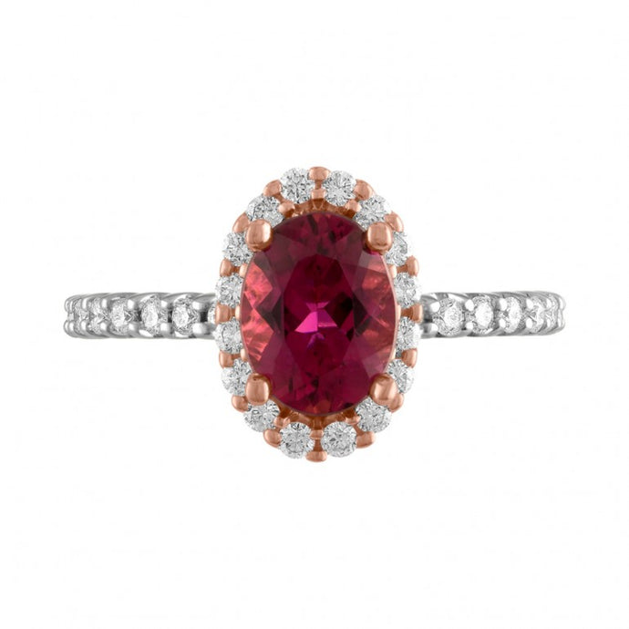 Pink Tourmaline and Diamond Halo Ring