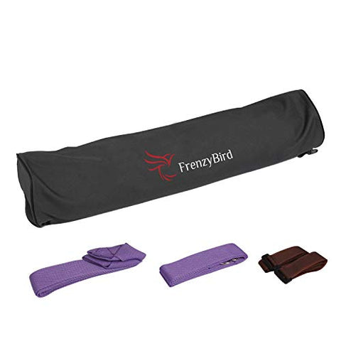 Image of FrenzyBird 5mm Thick PU Natural Rubber Yoga Mat with Body Alignment System,Oxford Mat Bag and Strap,Non Slip, Wet Absorbance,Free of PVC and Other Harmful Chemicals,for All Types of Yoga and Pilates