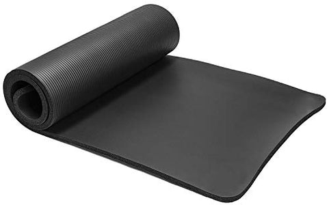 Large & Extra Thick Exercise Mat with Carrying Strap – 10mm Thick Yoga Mat –The Best of Yoga Mats & Exercise Mats on Amazon – Improve Your Health with this Fitness Mat –Pilates Mat –Ab Mat –Workout mat (Black)