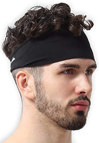 Mens Headband - Running Sweat Head Bands for Sports - Athletic Sweatbands for Workout/Exercise, Tennis & Football - Ultimate Performance Stretch & Moisture Wicking, Mens, Midnight Black