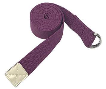 Yoga Strap Cotton- Tiiyar 10 feet/8 feet/6 feet Cotton Yoga Strap Belt for Stretching, Flexibility, Physical Therapy, Fitness (Purple, 183)
